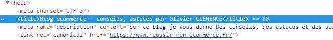 Aspect de la balise title en html