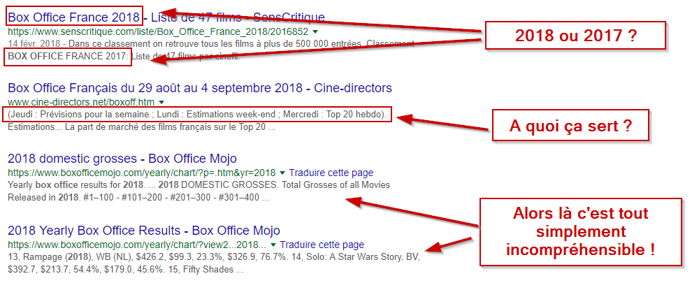 Mauvais exemple de meta description
