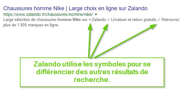 Utilisez les symboles dans vos descriptions