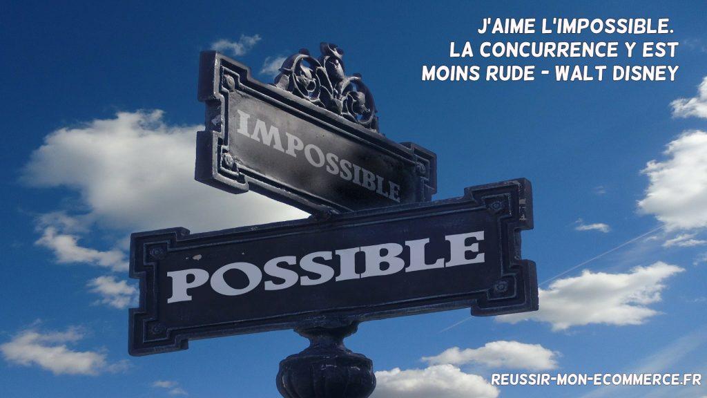 J'aime l'impossible. La concurrence y est moins rude