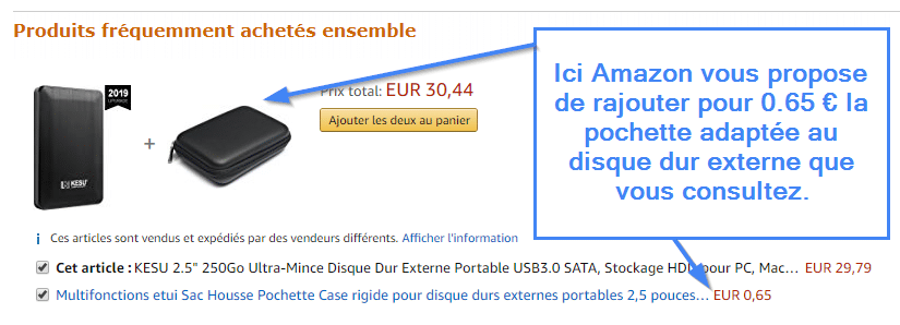 Exemple de cross selling chez Amazon