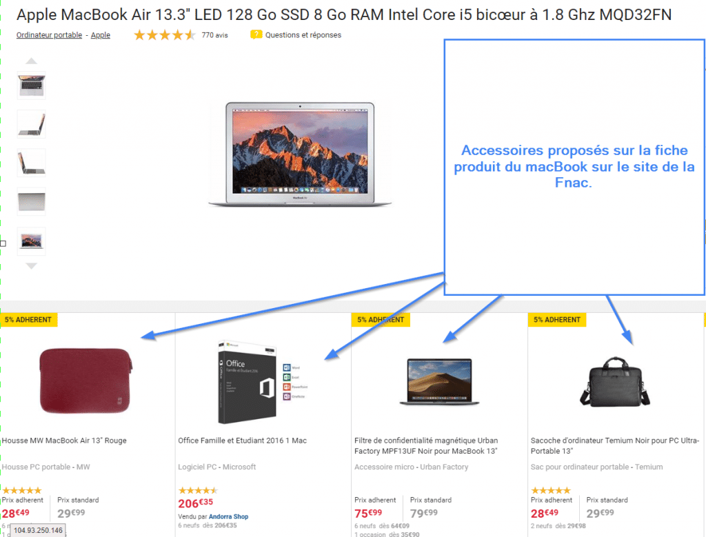 Exemple de cross selling sur la Fnac
