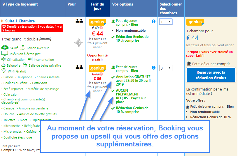 Upsell sur le site de Booking