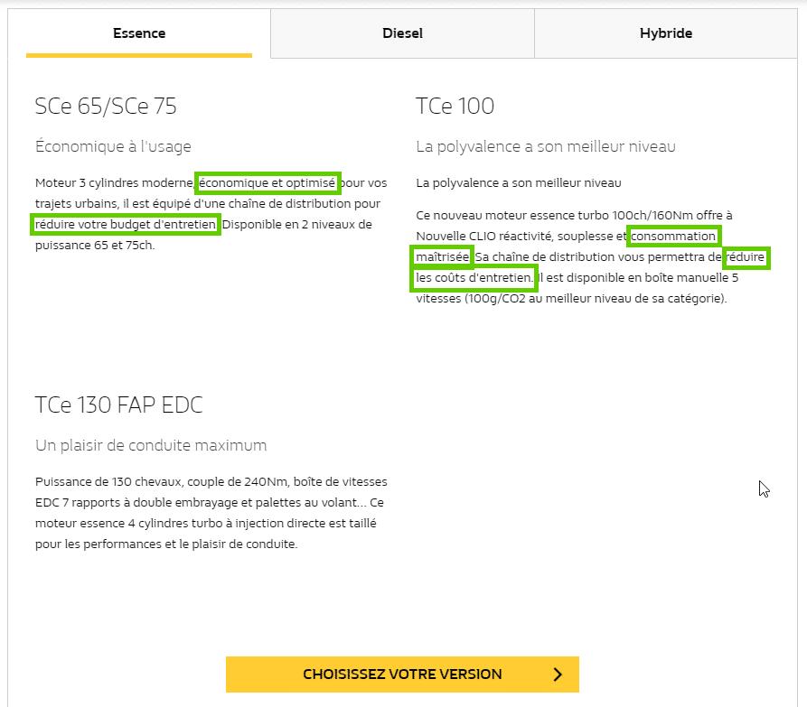 Renault applique la méthode SONCAS en appuyant fortement sur l'argument de l'argent.