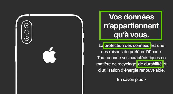 Exemple de mise en avant de la Sécurité par Apple