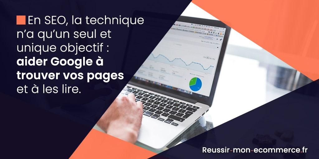 En seo, la technique n'a qu'un seul et unique objectif : aider Google à trouver vos pages et à les lire.