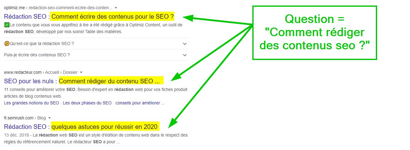résultats de recherche google pour la requête «Rédaction SEO»  = «Comment rédiger des contenus seo»