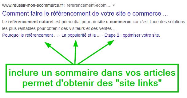 """inclure un sommaire dans vos articles permets d'obtenir des """"site links"""""""