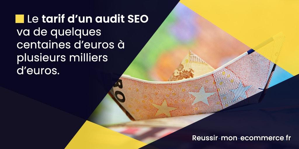Le tarif d'un audit SEO va de quelques centaines d'euros à plusieurs milliers d'euros.