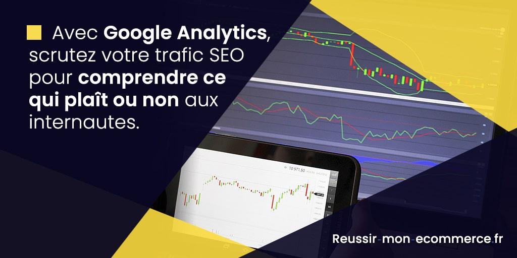 Avec Google Analytics, scrutez votre trafic SEO pour comprendre ce qui plaît ou non aux internautes.