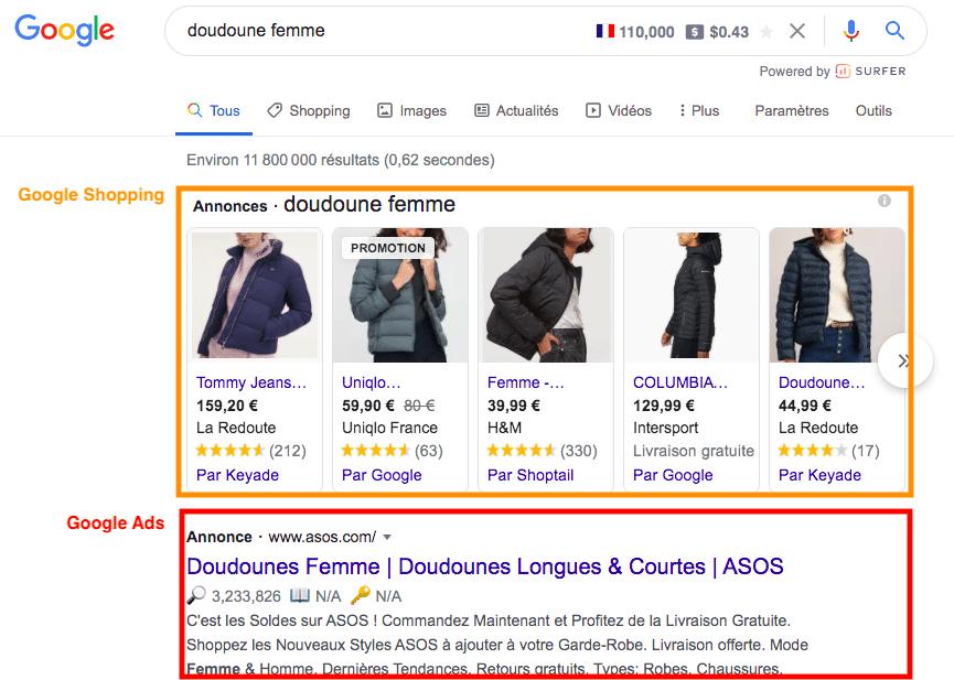 Screenshot résultats de google : google shopping et google ads