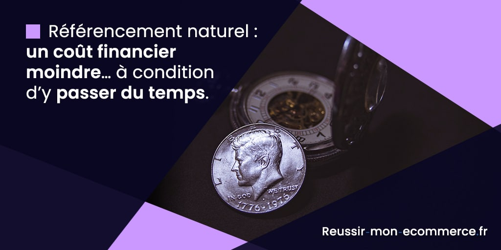 Référencement naturel : un coût financier moindre… à condition d'y passer du temps.