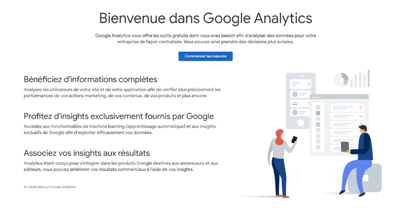 Copie écran de la page d'accueil de Google Analytics